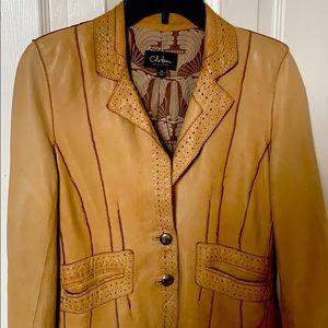 Cole hann leather jacket size 8 hippy boho